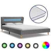 vidaXL Krevet od tkanine s madracem LED svjetlosivi 120 x 200 cm