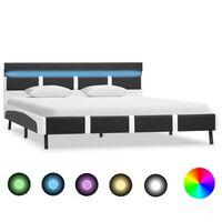 vidaXL Okvir za krevet od umjetne kože s LED svjetlom sivi 160x200 cm