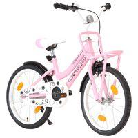 vidaXL Dječji bicikl s prednjim nosačem 18 inča ružičasto-crni