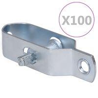 vidaXL Zatezači za žicu za ogradu 100 kom 90 mm čelični srebrni