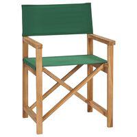 vidaXL Sklopiva redateljska stolica od masivne tikovine zelena