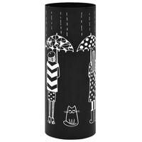vidaXL Stalak za kišobrane s crtežom žena čelični crni