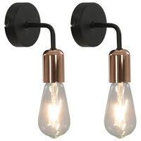 vidaXL Zidne svjetiljke 2 kom 2 W crno-bakrene E27
