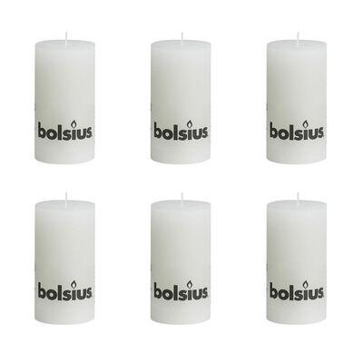 Bolsius rustikalna stupna svijeća 130 x 68 mm Bijela 6 kom