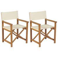 vidaXL Sklopive redateljske stolice 2 kom od masivne tikovine