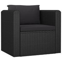 vidaXL Fotelja od poliratana s jastucima crna