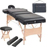 vidaXL Sklopivi trodijelni stol za masažu i stolica set debljina 10 cm crni