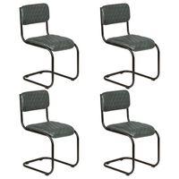 vidaXL Blagovaonske stolice od prave kože 4 kom sive