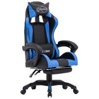 vidaXL Igraća stolica od umjetne kože s osloncem za noge plavo-crna