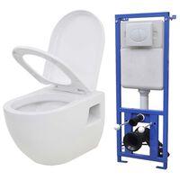 vidaXL Zidna toaletna školjka s ugradbenim vodokotlićem keramička bijela