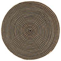 vidaXL Ručno rađeni tepih od jute sa spiralnim uzorkom crni 120 cm