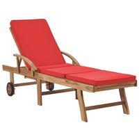 vidaXL Ležaljka za sunčanje s jastukom masivna crvena