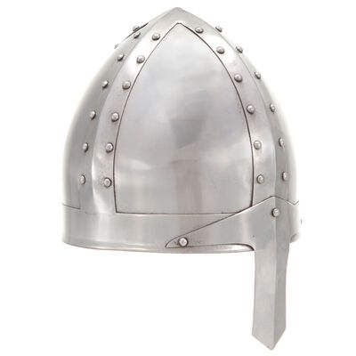 vidaXL Replika srednjovjekovne viteške kacige za LARP srebrna čelična