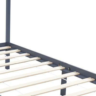 vidaXL Okvir za krevet s baldahinom od borovine sivi 120 x 200 cm