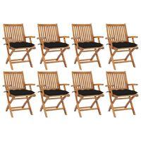 vidaXL Sklopive vrtne stolice s jastucima 8 kom od masivne tikovine
