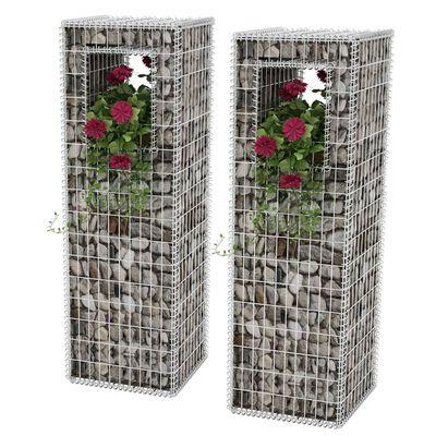 vidaXL Gabionske stupne košare/sadilice 2 kom čelične 50 x 50 x 160 cm