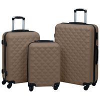 vidaXL 3-dijelni set čvrstih kovčega smeđi ABS