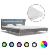 vidaXL Krevet od tkanine s madracem LED svjetlosivi 160 x 200 cm