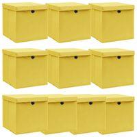 vidaXL Kutije za pohranu s poklopcima 10 kom žute 32x32x32 cm tkanina