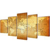 Zidne Slike na Platnu s Printom Mapa Svijeta 100 x 50 cm