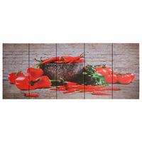 vidaXL Set zidnih slika na platnu s uzorkom paprika šareni 150 x 60 cm