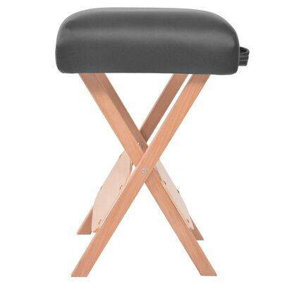 vidaXL Set sklopivog dvodijelnog masažnog stola 10 cm i stolca crni