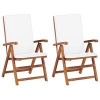 vidaXL Nagibne vrtne stolice s jastucima 2 kom masivna tikovina krem