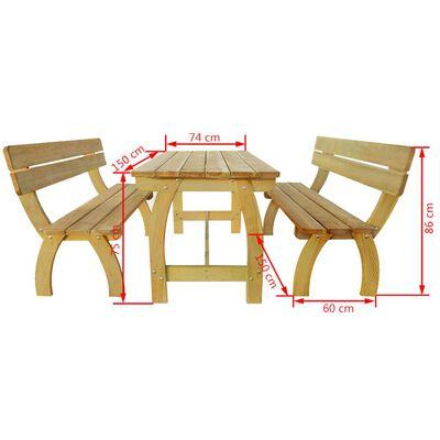 vidaXL Pivski stol s 2 klupe od impregnirane borovine