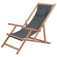 vidaXL Sklopiva ležaljka za plažu od tkanine s drvenim okvirom siva