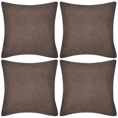 4 Smeđe Jastučnice Linen-look 40 x 40 cm