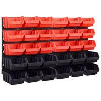 vidaXL 32-dijelni set kutija za pohranu sa zidnim pločama crveno-crni
