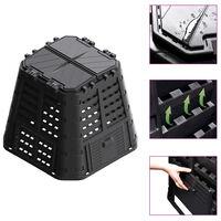 vidaXL Vrtni komposter crni 93,3 x 93,3 x 80 cm 480 L
