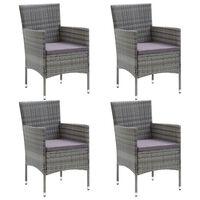 vidaXL Vrtne blagovaonske stolice od poliratana 4 kom sive