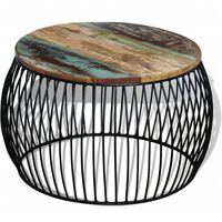 vidaXL Stolić za kavu okrugli od masivnog obnovljenog drva 68 x 43 cm