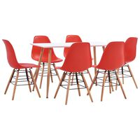 vidaXL 7 Piece Dining Set Plastic Red (248304+248273)