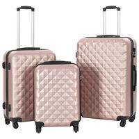 vidaXL 3-dijelni set čvrstih kovčega ružičasto-zlatni ABS
