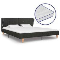 vidaXL Krevet od jute s memorijskim madracem tamnosivi 180 x 200 cm