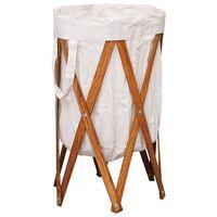 vidaXL Sklopiva košara za rublje od drva i tkanine krem