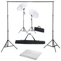 vidaXL Fotografska oprema s pozadinom, svjetiljkama i kišobranima