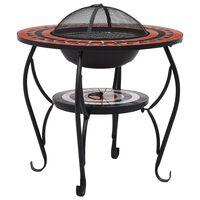 vidaXL Mozaični stolić s ognjištem boja cigle i bijeli 68 cm keramički