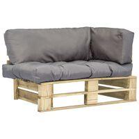 vidaXL Vrtna sofa od paleta sa sivim jastucima od borovine