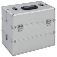 vidaXL Kovčeg za šminku 37 x 24 x 35 cm srebrni aluminijski