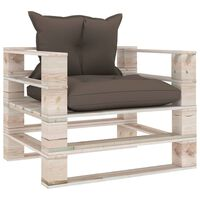 vidaXL Vrtna sofa od paleta od borovine sa smeđe-sivim jastucima