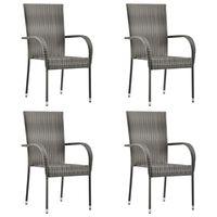 vidaXL Složive vrtne stolice od poliratana 4 kom sive