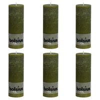 Bolsius rustične debele svijeće 6 kom 190 x 68 mm maslinaste