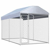 vidaXL Vanjski kavez za pse s nadstrešnicom 382 x 192 x 225 cm