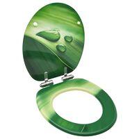 vidaXL Toaletna daska s mekim zatvaranjem MDF zelena s uzorkom kapi