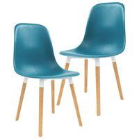 vidaXL Blagovaonske stolice 2 kom tirkizne plastične