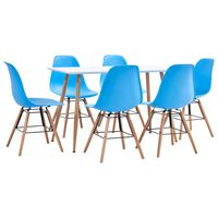 vidaXL 7 Piece Dining Set Plastic Blue (248304+248267)