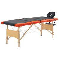 vidaXL Sklopivi masažni stol s 4 zone drveni crno-narančasti